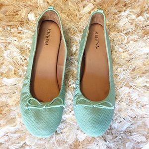 Merona Snake Print Aqua Green Ballet Flats 7.5